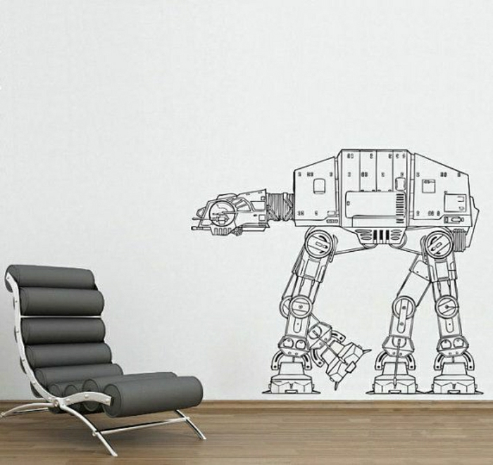 Designer-Stuhl-coole-Wandtattoo-Robot