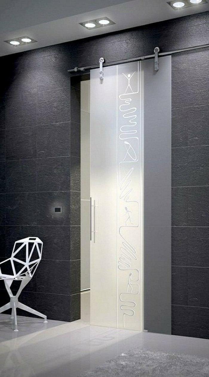 Designer-Tür-mattes-Glas-Zeichnungen-Designer-Stuhl-weiß
