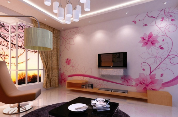 Designer-Tapeten-rosa-Blumen-romantische-Atmosphäre-Wohnzimmer-modernes-Interieur