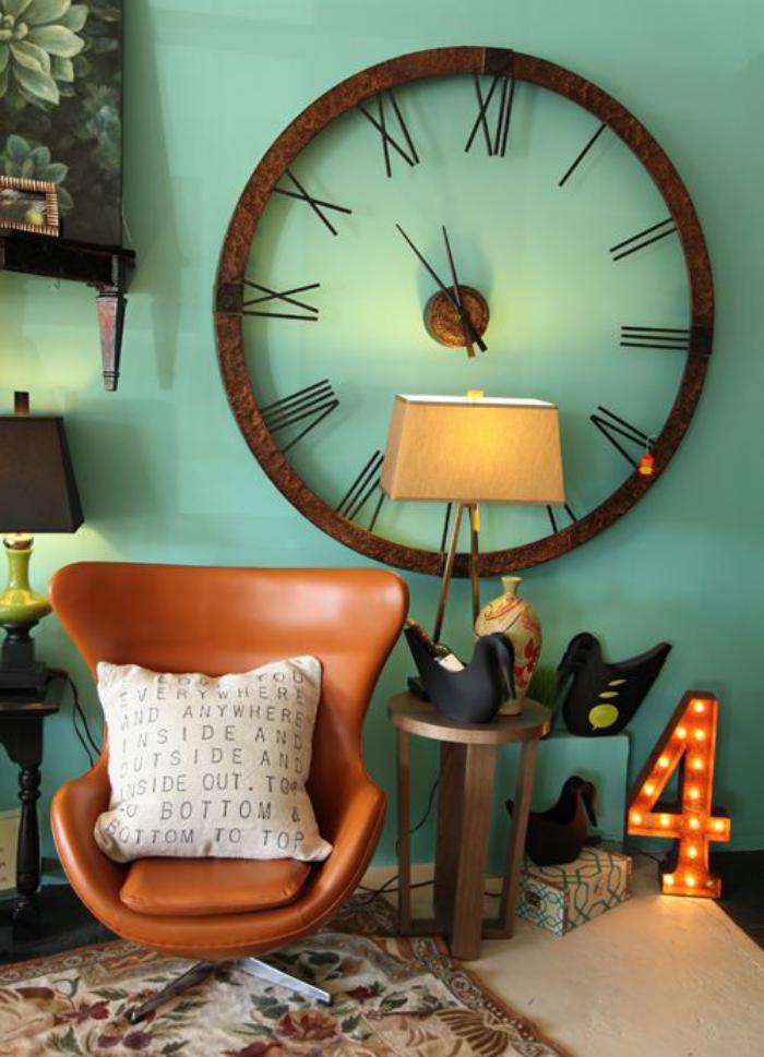 Designer-Wanduhren-gemptliches-Wohnzimmer-Wand-Minze-Farbe