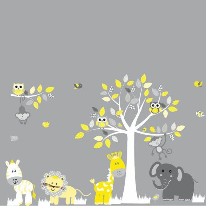 Dschungel-Wandtattoos-für-kinderzimmer-Tiere-Baum