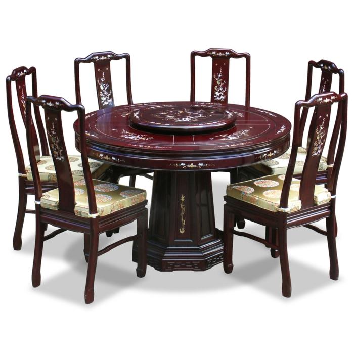 Esstisch-Stühle-Gestaltung-Idee-aristokratisch-asiatische-Motive