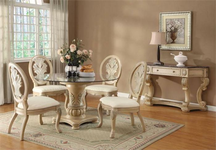 Esszimmer-Gestaltung-vintage-shabby-chic-barock-Elemente-runder-Esstisch-gläserne-Tischplatte-Rosen