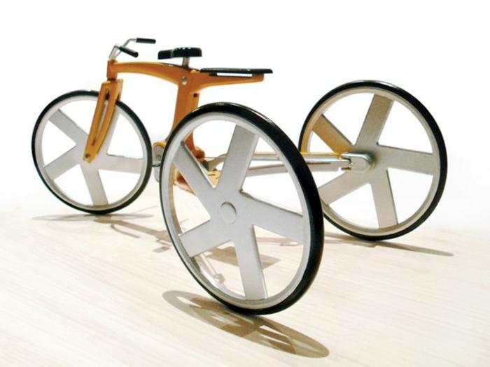 Fahrrad-drei-Räder-Bambus-modisch-cool-schick-weiß
