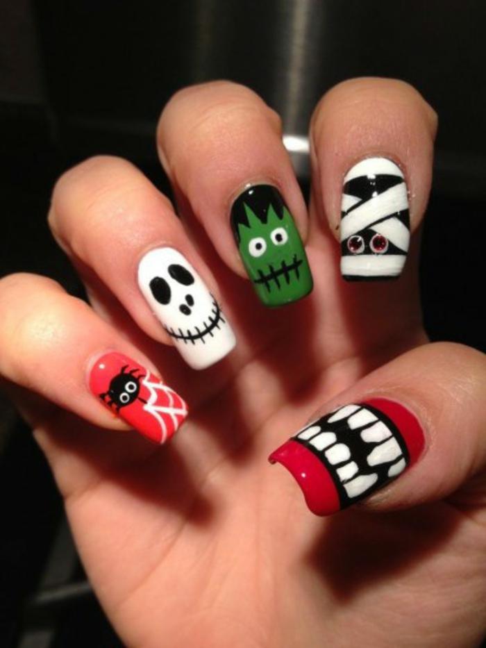 Halloween-Ideen-für-Maniküre-gruselige-kreaturen