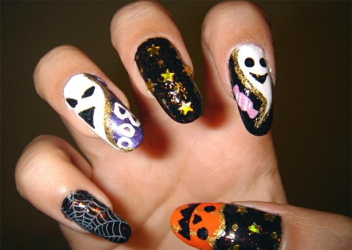 Halloween-Ideen-für-Maniküre--halloween-kreaturen-sternnchen