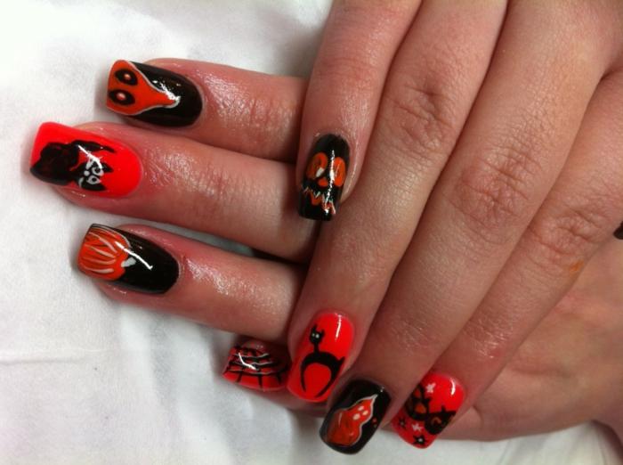 Halloween-Ideen-für-Maniküre-kreaturen-schwarz-und-rot