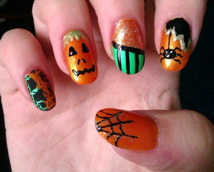 Halloween-Ideen-für-Maniküre--nagel-design-und-halloween-kreaturen