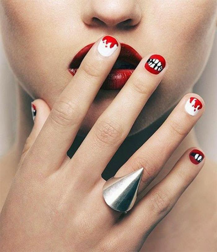 Halloween-Ideen-für-Maniküre-rot-und-weiß