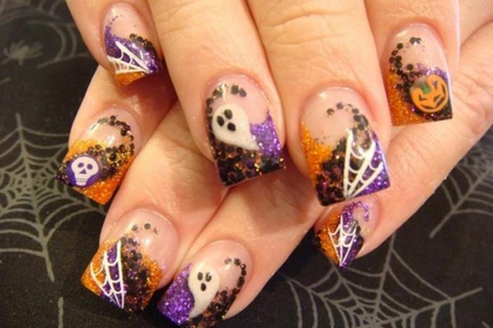 Halloween-Ideen-für-Maniküre--spinnen-netz-gespenster-lila-und-orange