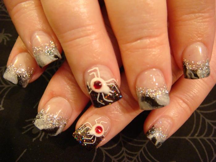 Halloween-Ideen-für-Maniküre-weiß-rot-spinnen