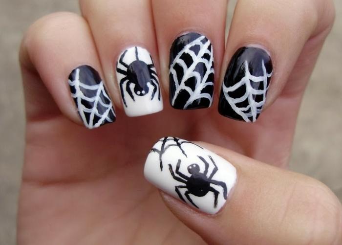 Halloween-Ideen-für-Maniküre--weiße-spinnennetz-schwarze-spinne