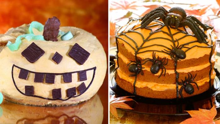 Halloween-Süßigkeiten-torten-kürbis-spinne