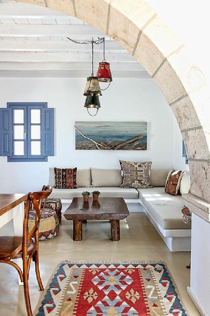 Haus-marokkanischer-Stil-ethnisch-Fenster-blaue-Läden