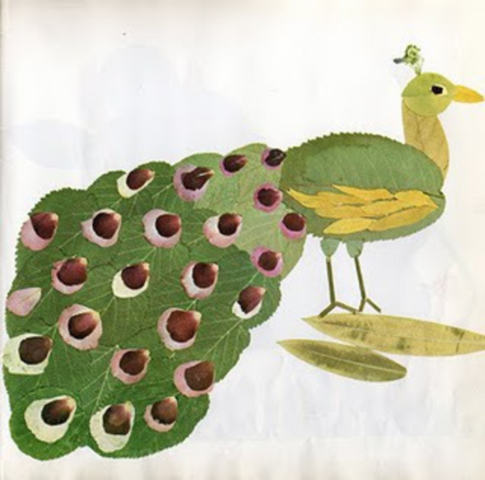 Herbstbasteln-mit-Kindern-pfau-mit-kastienie