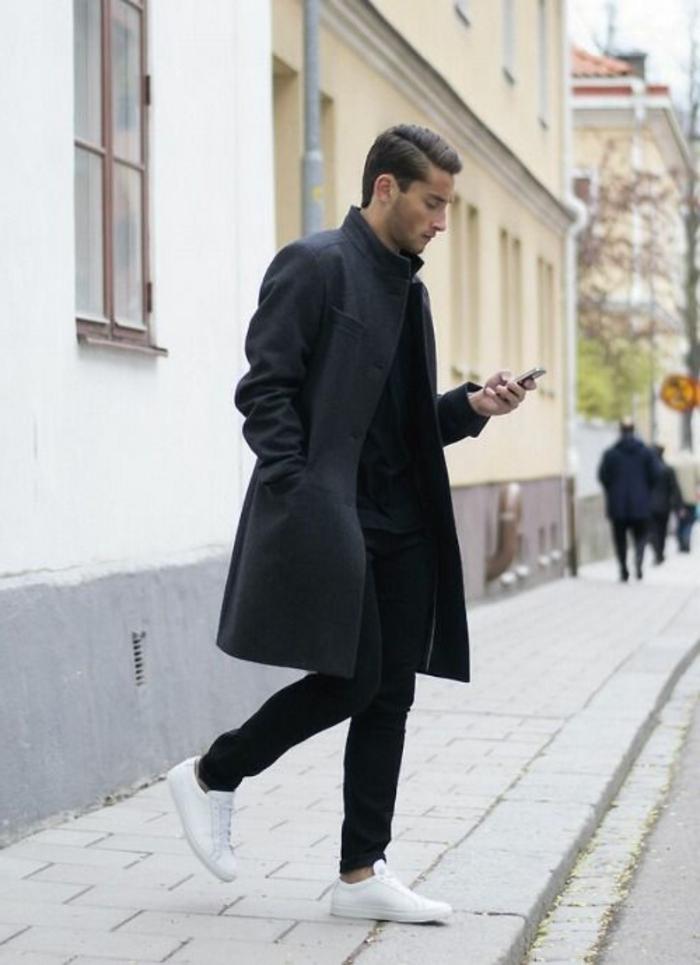 Herrenmode-Mantel-schwarz-klassisches-Modell