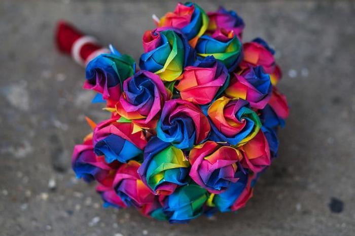 Hochzeitsstrauß-Papierblumen-Origami-Blume-magische-Nuancen