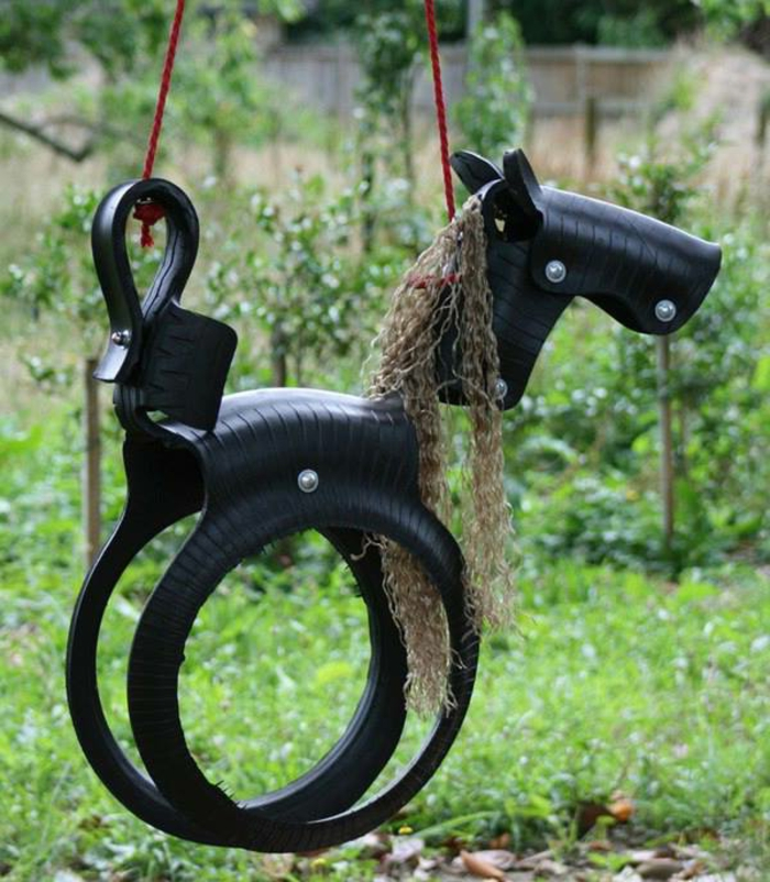 Kinder schaukel-Pony-Reifen-schwarz