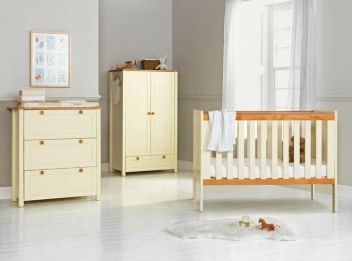 Kinderzimmer-Schrank-Kommode-Babybett-gelb-schlichtes-Design-minimalistisches-Interieur-graue-Wände