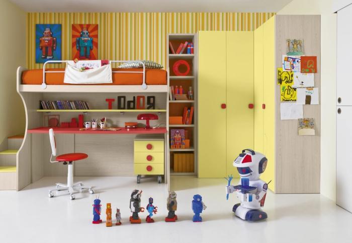 Kinderzimmer-für-Jungen-Hochbett-Treppen-Schreibtisch-Designer-Stuhl-originelles-Design-rote-Akzente-Regale-gelbe-Schränke-Roboter