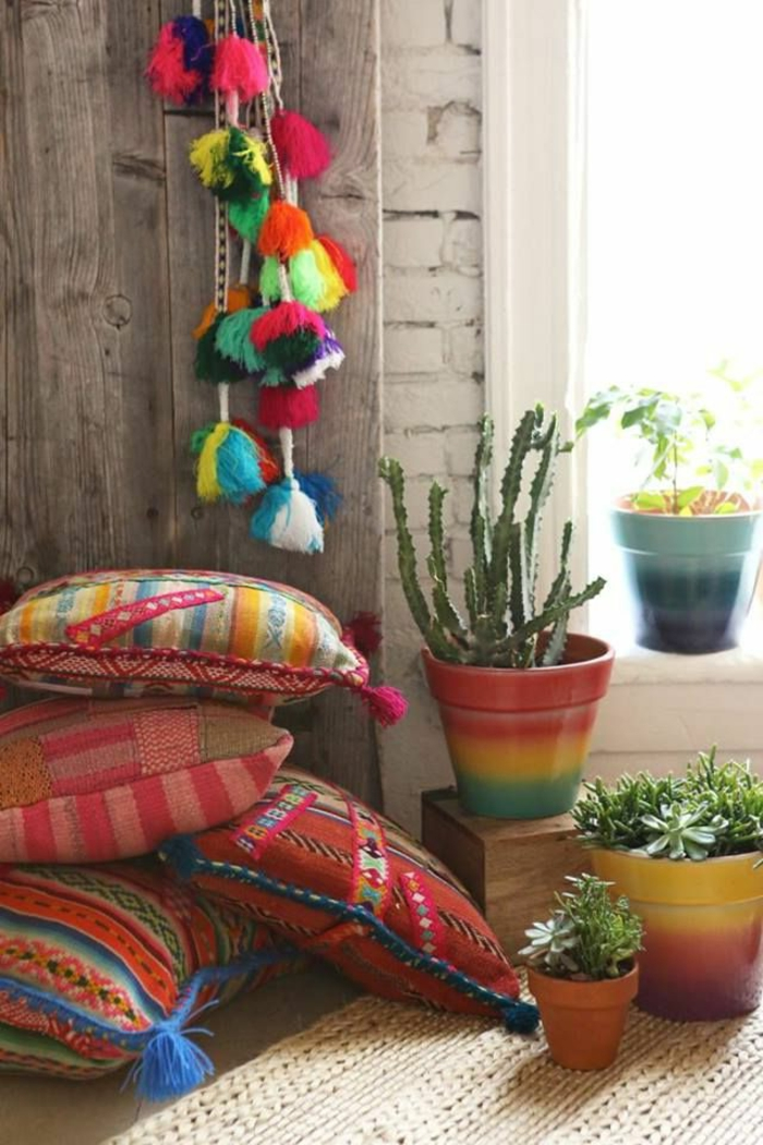 Kissen-indisches-Design-Topfpflanzen-Quasten-Dekoration-boho-Stil