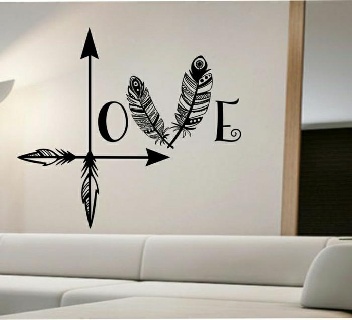 Love-Wandtattoo-Federn-Pfeile-Boho-Stil