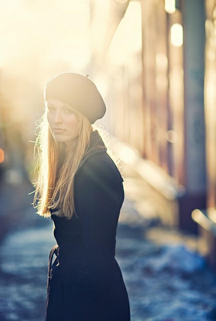 Mädchen-Mantel-französischer-hut-Barett-Mütze