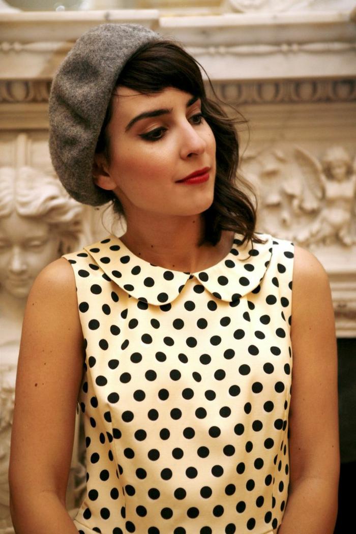 Mädchen-Polka-Dot-Kleid-Barett-Mütze-Wolle-grau-schick-modern