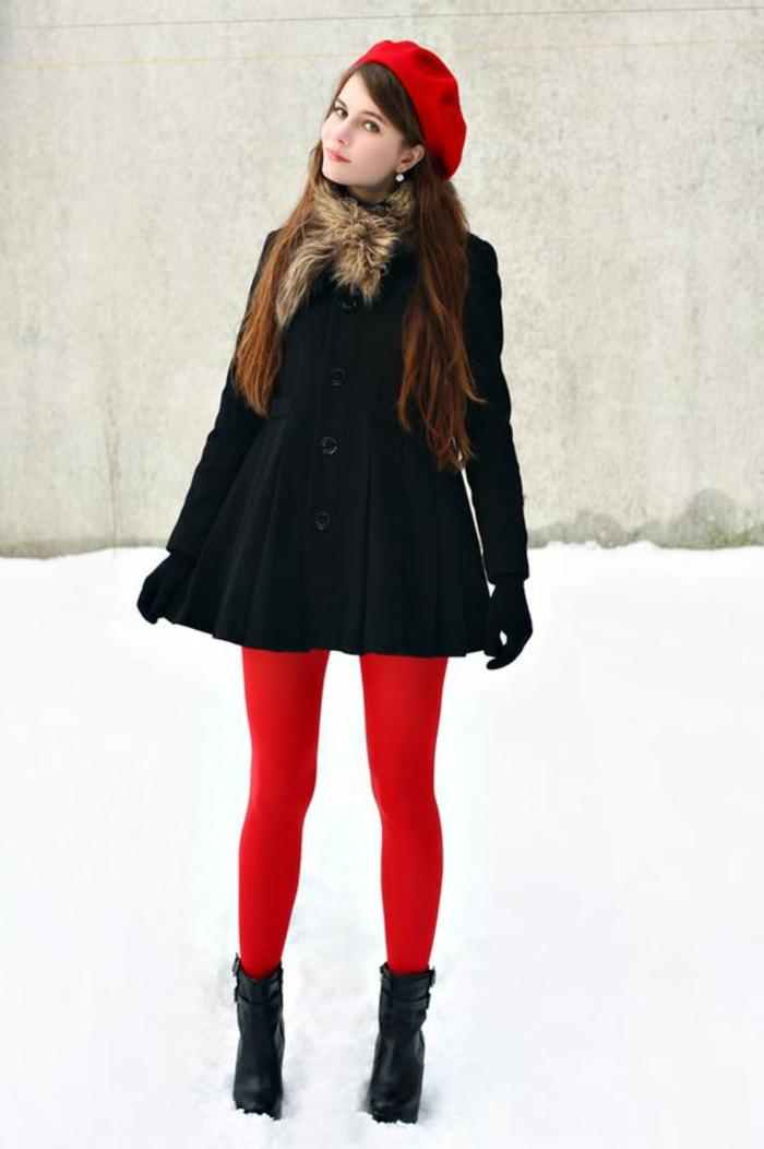 Mädchen-Schulen-Mode-französischer-Stil-rote-mütze-schick-kokett