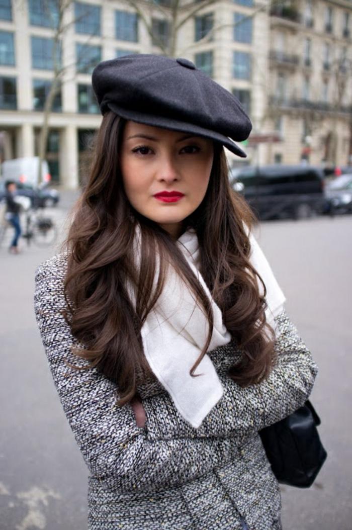 Mädchen-Straßenmode-Wintermantel-Halstuch-weiß-schwarze-Mütze-französischer-hut-schicker-Look