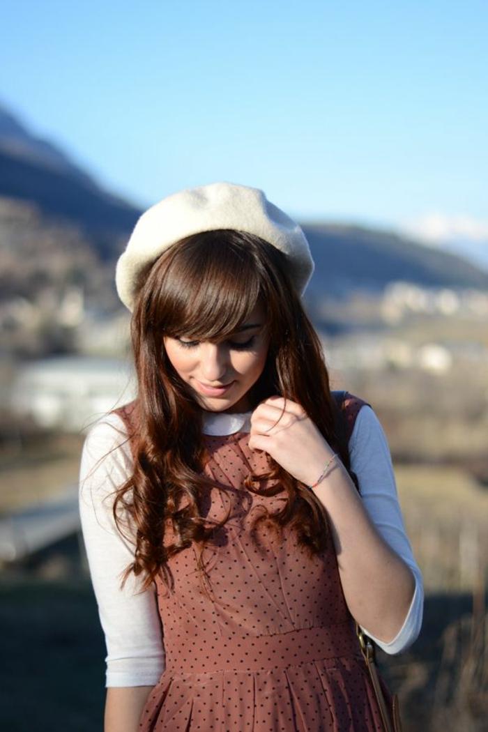 Mädchen-simple-Kleidung-Barett-Mütze-Creme-Farbe-Wolle-schick-süß