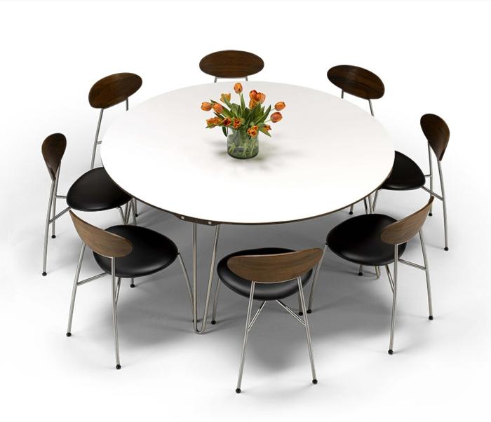 Möbel-modernes-Design-kontrastierende-Farbschemen-runder-Tisch-Stühle-Hocker-mit-Lehne-Leder-Holz