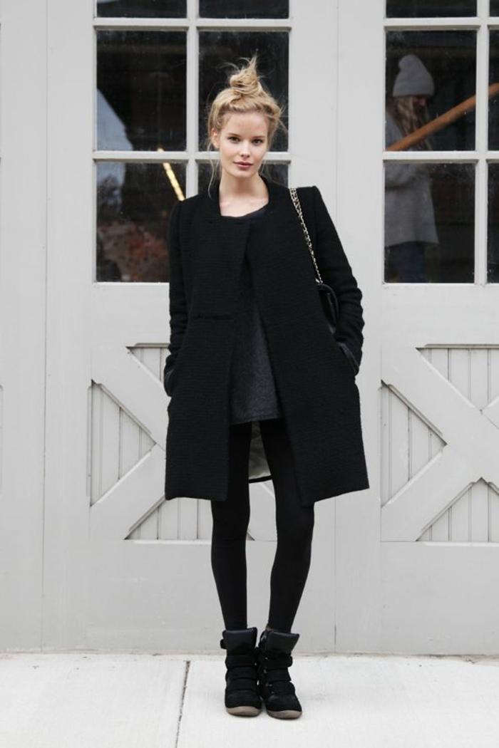Mantel-schlichtes-Design-schwarz-Straßenmode