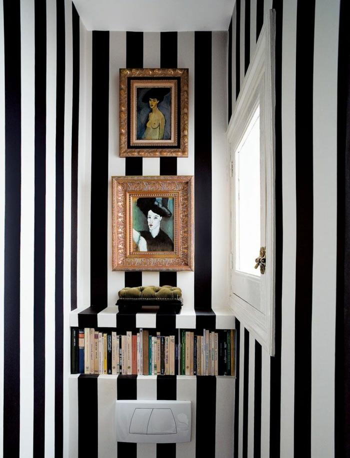Miami-Wohnung-schwarz-weiße-Tapeten-Streifen-schick-modern-extravagant-elegant