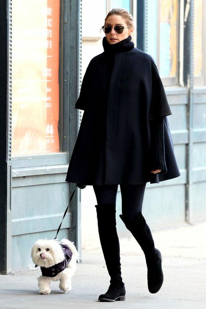 Olivia-Palermo-elegantes-Cape-schwarz-Hund