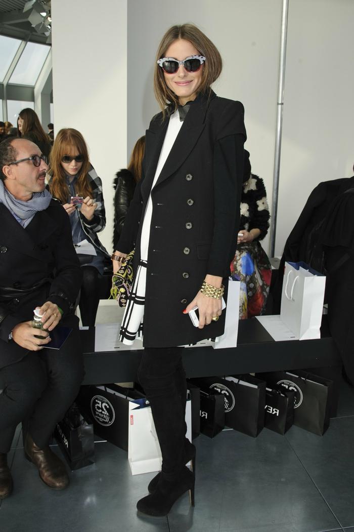 Olivia-Palermo-schwarzer-Mantel-klassisches-Modell-originelle-Sonnenbrille