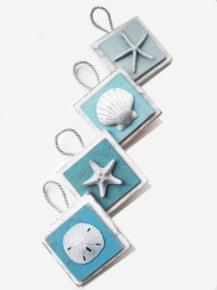 Ornamente-Set-silber-türkis-Farbe-Muscheln-Deko-Seesterne