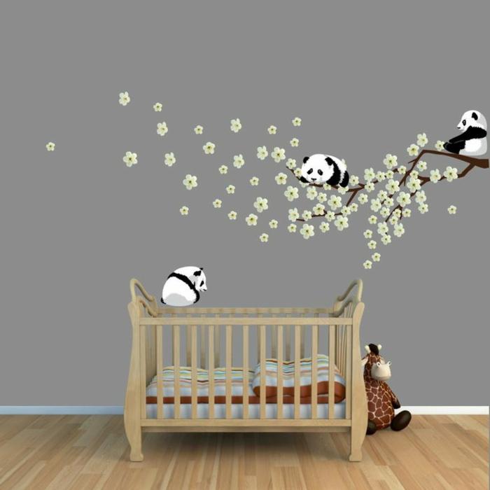 Pandas-Kirschenbaum-Wandtattoos-für-kinderzimmer-Babyzimmer-graue-Wände