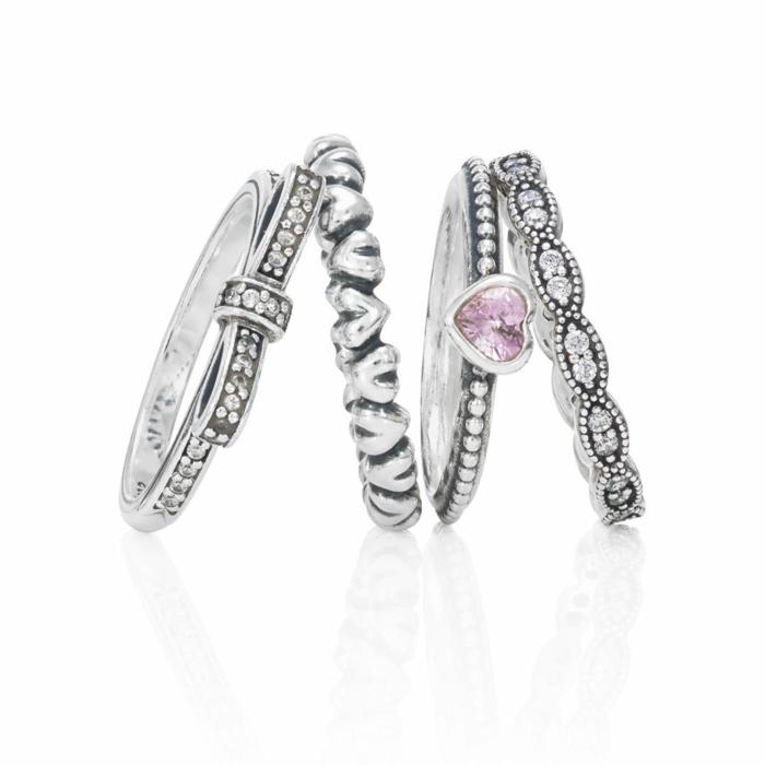 Pandora-Ringe-Silber-rosa-Stein-Herz-Form-elegant-stilvoll
