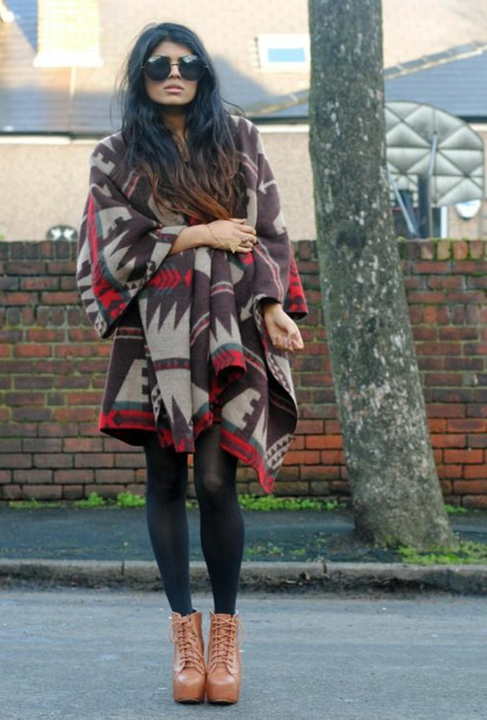 Poncho-Cape-langes-Modell-stilvoll-Wintermantel