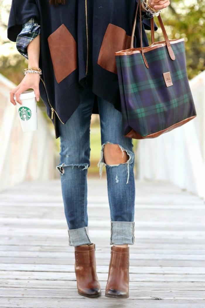 Poncho-originelles-Modell-karierte-Tasche-Hemd-Jeans