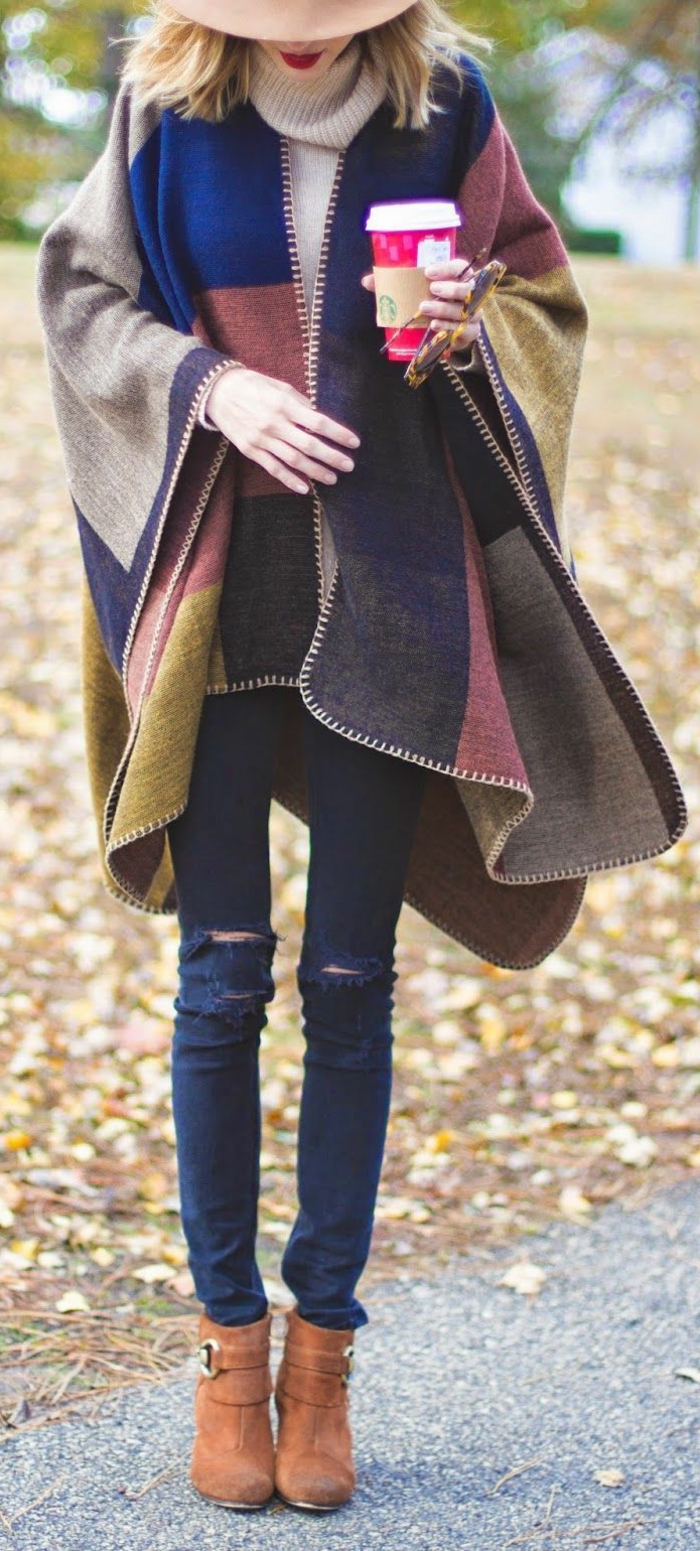 Poncho-Wintermantel-Patchwork-Jeans