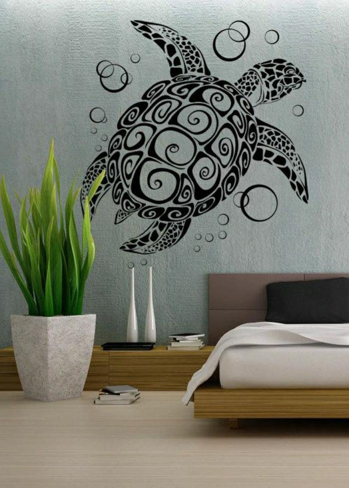 Schlafzimmer-Bett-Topfpflanze-coole-Wandtattoos-Sumpfschildkröte