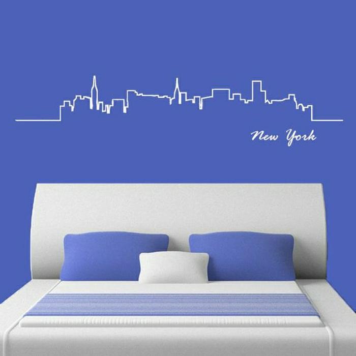 Schlafzimmer-lila-Wand-Wandsticker-New-York