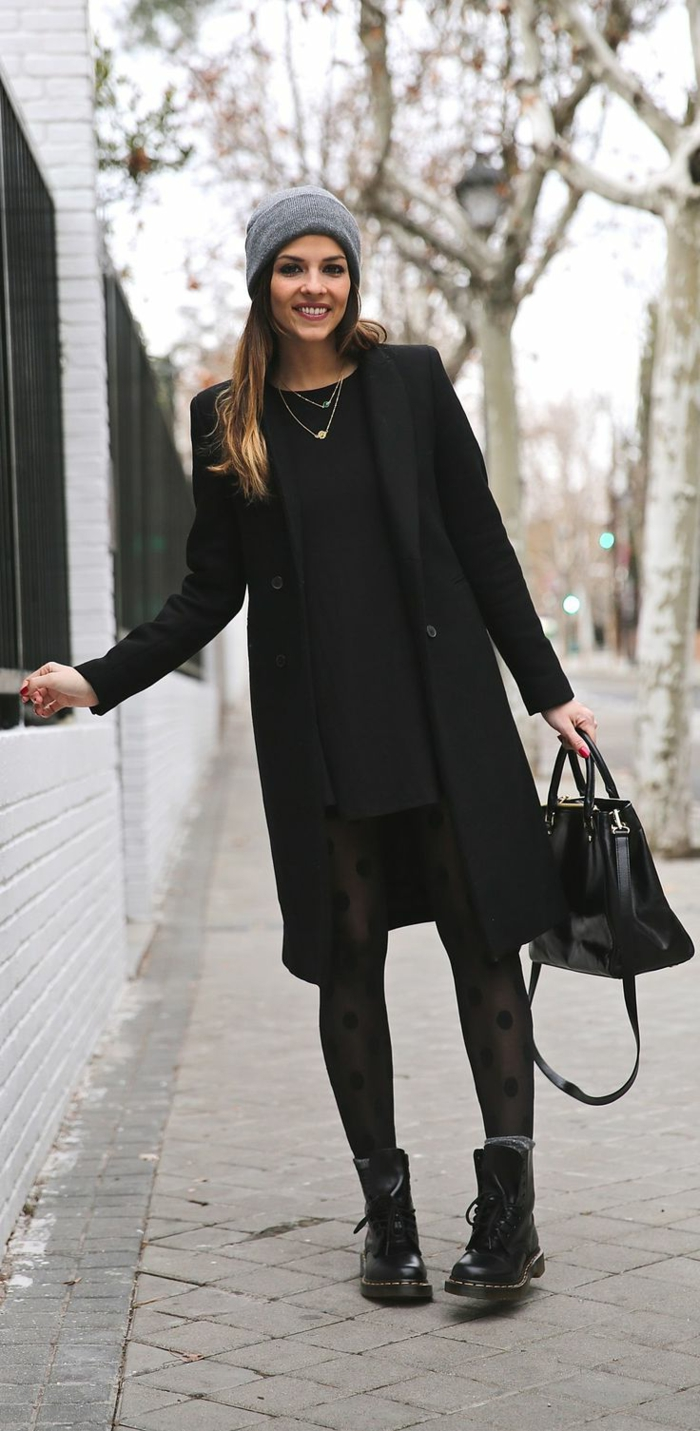 Straßenmode-Wintermantel-Damen-schwarz-klassisches-Modell