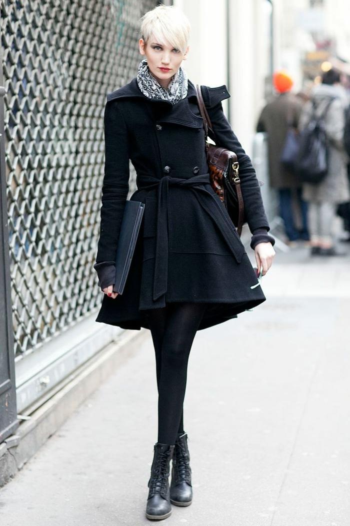 Straßenmode-Wollmantel-Damen-schwarz-A-Silhouette