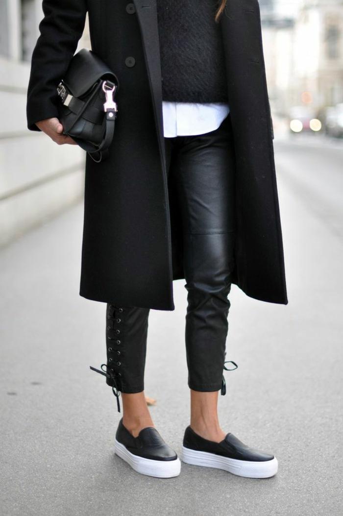 Straßenmode-extravagante-Lederhosen-Sportschuhe-Mantel