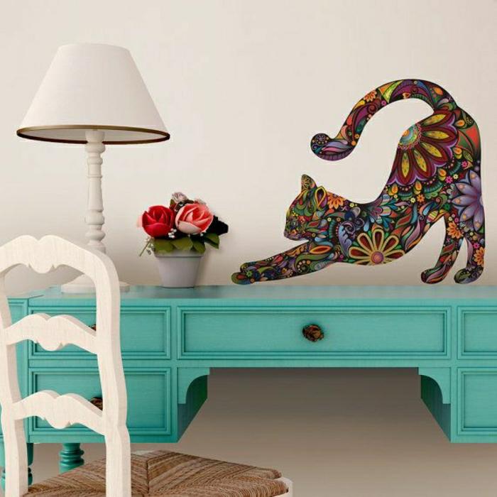 Toilettentisch-Lampe-cooler-Wandsticker-Katze