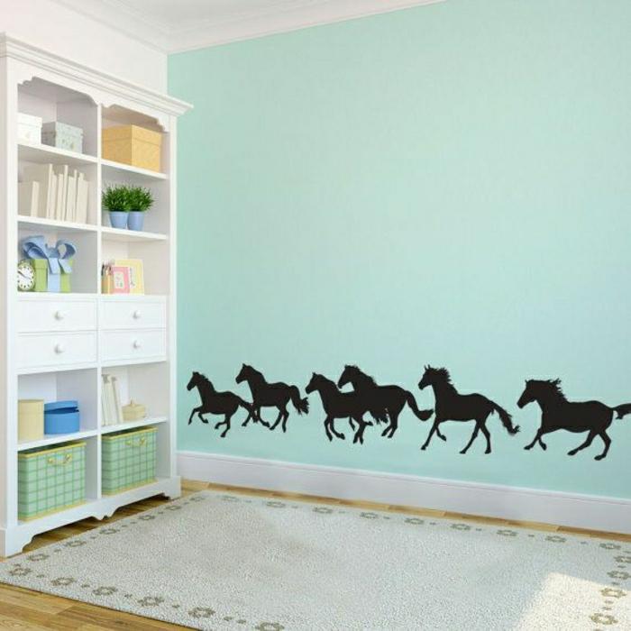 Wand-Minze-Farbe-frisch-Wandsticker-Pferde
