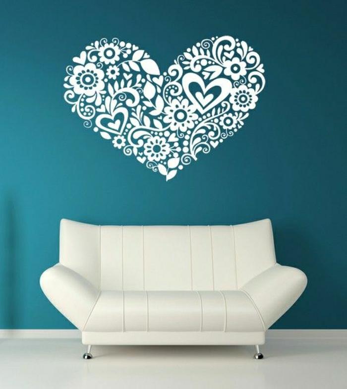 Wand-türkis-Farbe-weißes-Herz-Wandsticker